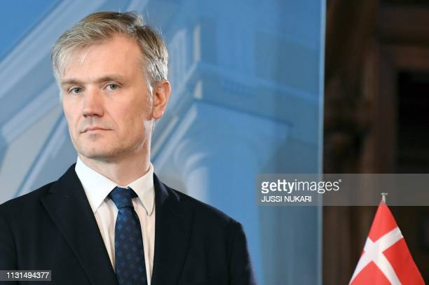 Denmark's State Secretary for Foreign Policy Jonas Bering Liisberg holds a press conference during a meeting of Foreign Ministers of Germany Sweden...