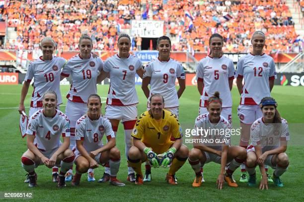 Denmark's team players midfielder Maja Kildemoes defender Theresa Nielsen goalkeeper Stina Lykke Petersen midfielder Katrine Veje and midfielder...