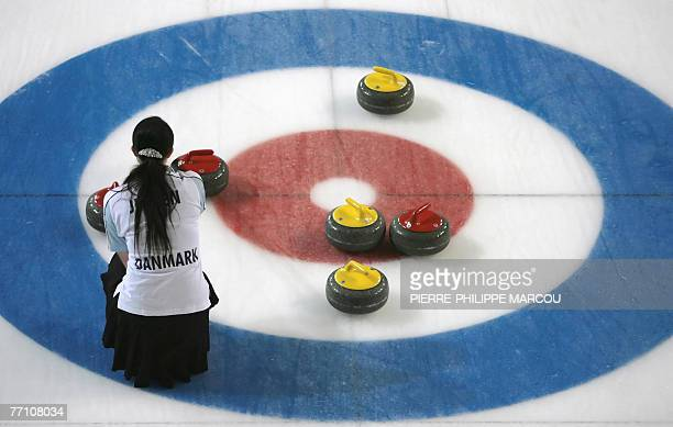 Denmark's viceskip Camilla Jensen watches the stones during their final European Mixed Curling Championship match against Wales in Madrid 29...