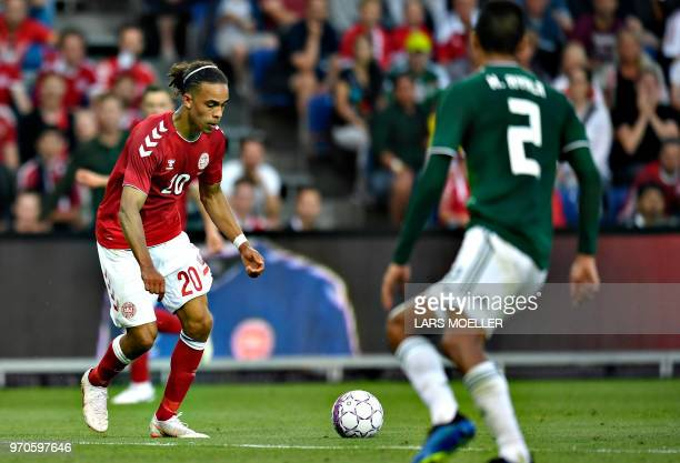 Denmark's Yussuf Poulsen shoots to score during the international friendly footbal match Denmark vs Mexico in Brondby on June 9 2018 / Denmark OUT