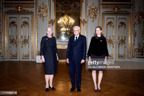 Denmmark's Queen Margrethe welcomes Italy's President Sergio Mattarella and first lady Laura Mattarella at Amalienborg Castle in Copenhagen, on...