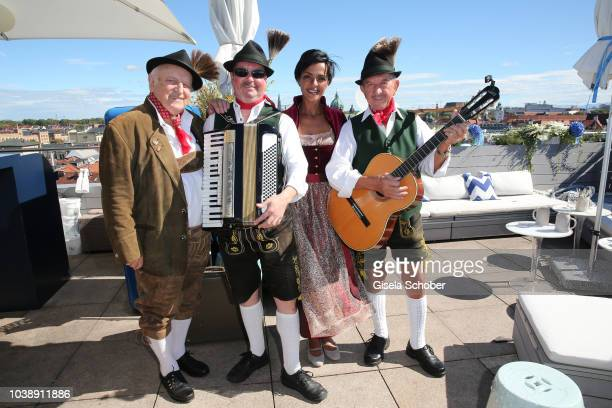 Dennenesch Zoude and band during the 'Amsel Fashion Wiesn Brunch' during the Oktoberfest 2018 at Hotel Mandarin Oriental on September 23 2018 in...