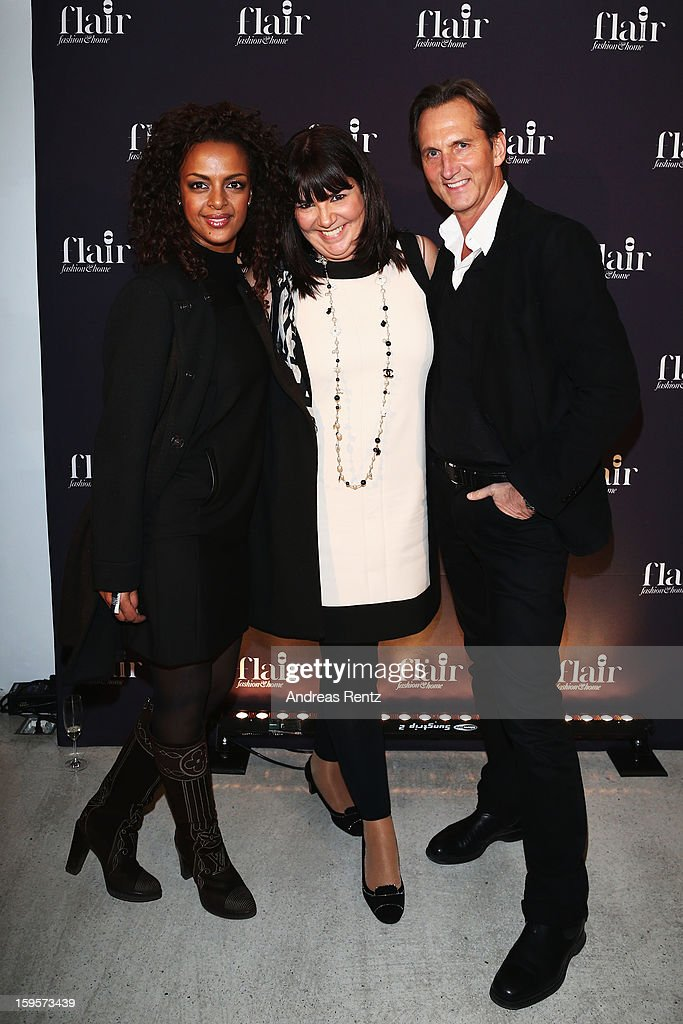 Dennenesch Zoude (L) and Guido Boehler (R) attend Flair Magazine Party at Pariser Platz 4 on January 15, 2013 in Berlin, Germany.