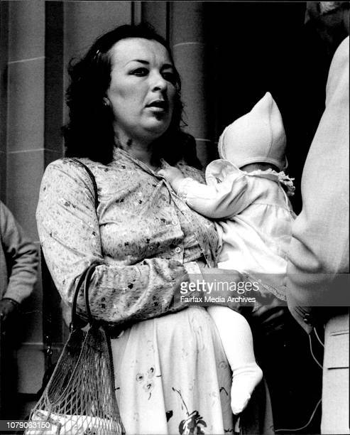 Denning Prisoner Ray Denning's fiancee Miss Kim Pascoe arrives at Central Court today carrying her 81/2 mths old baby daughter Amanda November 09 1981