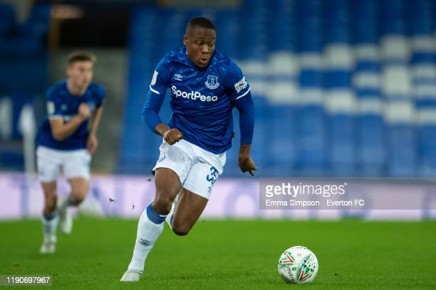 Dennis Adeniran during the Leasing Trophy Second Round match between Everton U21 and Fleetwood Town at Goodison Park on November 26 2019 in Liverpool...