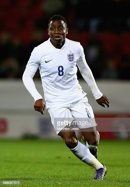 Dennis Adeniran of England in action during the International U17 Friendly match between England U17 and Germany U17 at the New York Stadium on...