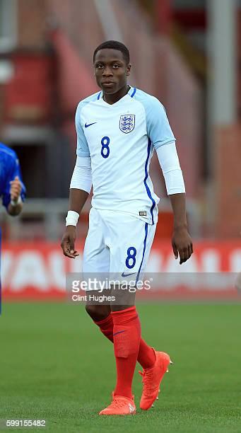 Dennis Adeniran of England U18 during the international friendly match between England U18 and Italy U18 at Highbury Stadium on September 1 2016 in...