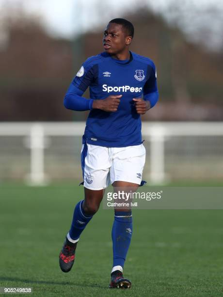 Dennis Adeniran of Everton during the Premier League 2 match between Tottenham Hotspur and Everton on January 15 2018 in Enfield England