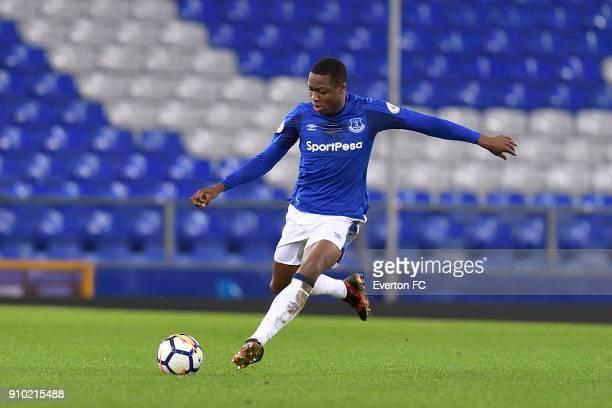Dennis Adeniran of Everton during the Premier League 2 match between Everton U23 and Portsmouth U23 at Goodison Park on January 23 2018 in Liverpool...