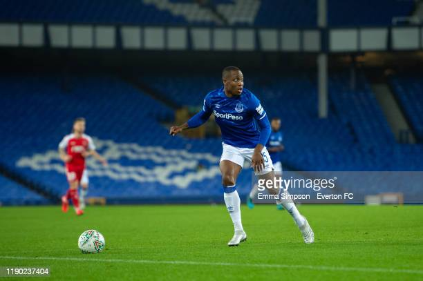 Dennis Adeniran of Everton in action during the Leasing Trophy Second Round match between Everton U21 and Fleetwood Town at Goodison Park on November...