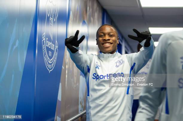 Dennis Adeniran of Everton walks out for the warm up prior to the match between Everton U21 and Fleetwood Town at Goodison Park on November 26 2019...