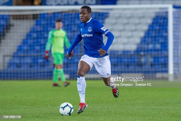 Dennis Adeniran runs with the ball at Goodison Park on December 12 2018 in Liverpool England