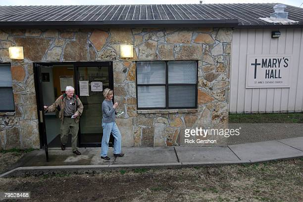 Dennis and Mary Lou Davenport of North Little Rock leave Mary's Hall at St Anne's Catholic Church after making their choice for the Presidential...