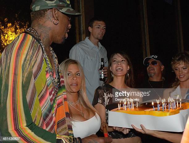Dennis and Michelle Rodman during Dennis Rodman Celebrates Birthday at Rain in The Palms Hotel and Casino Resort at The Palms Hotel and Casino Resort...