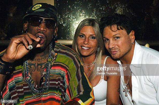 Dennis and Michelle Rodman with Vinnie Paz during Dennis Rodman Celebrates Birthday at Rain in The Palms Hotel and Casino Resort at The Palms Hotel...