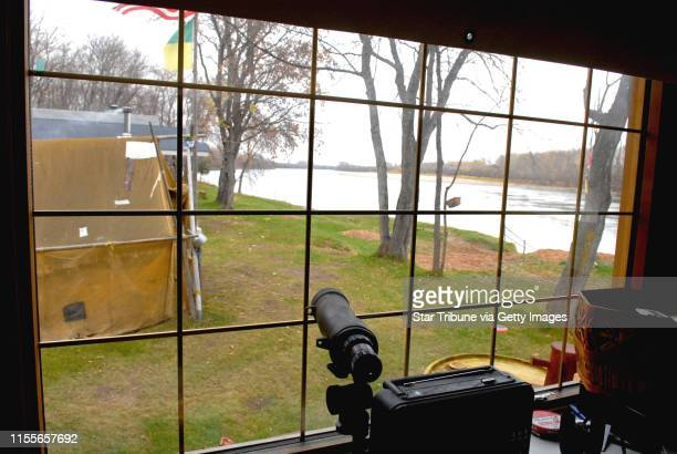 Dennis Anderson ¥ danderson#startribunecom Oct 2007 The view from the eating cabin at Big Eddy hunting camp looks downstream as the Saskatchewan...