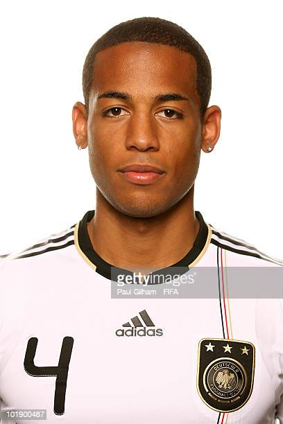 Dennis Aogo of Germany poses during the official Fifa World Cup 2010 portrait session at Velmore Hotel on June 8 2010 in Pretoria South Africa