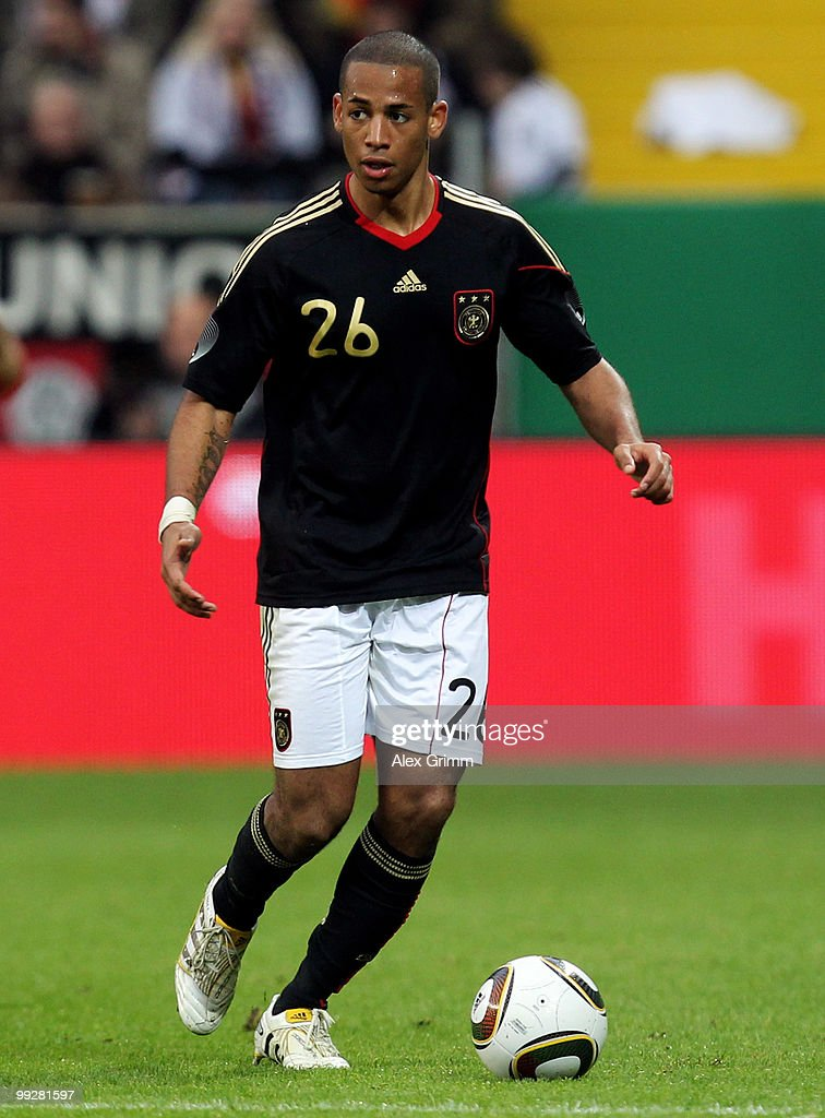 Dennis Aogo of Germany runs with the ball during the international friendly match between Germany and Malta at Tivoli stadium on May 13, 2010 in Aachen, Germany.