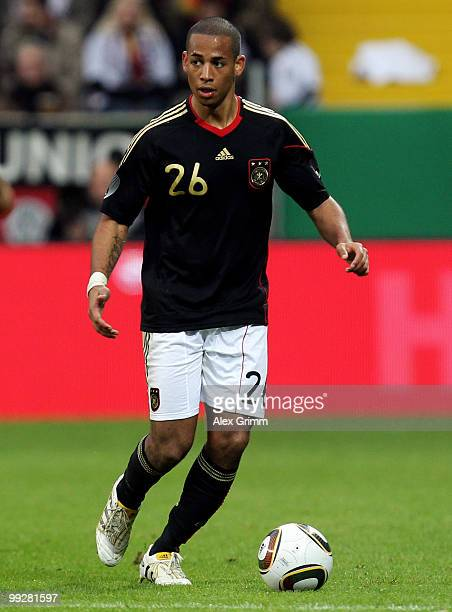 Dennis Aogo of Germany runs with the ball during the international friendly match between Germany and Malta at Tivoli stadium on May 13 2010 in...