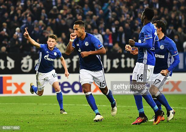Dennis Aogo of Schalke celebrates as he scores their second goal from a penalty during the UEFA Europa League Group I match between FC Schalke 04 and...