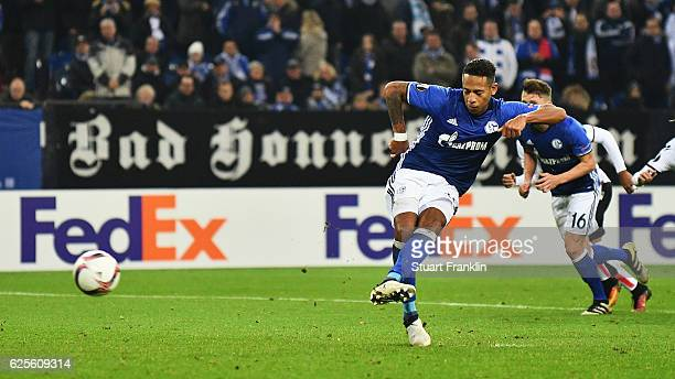 Dennis Aogo of Schalke scores their second goal from a penalty during the UEFA Europa League Group I match between FC Schalke 04 and OGC Nice at...