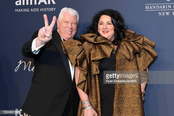 Dennis Basso and Ashley Longshore attend the 2020 amfAR New York Gala on February 05, 2020 in New York City.
