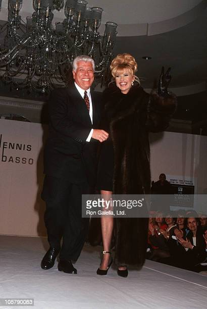 Dennis Basso and Ivana Trump during Ivana Trump Fur Fashion Show Party for Nikki Haskell at Pierre Hotel in New York City New York United States