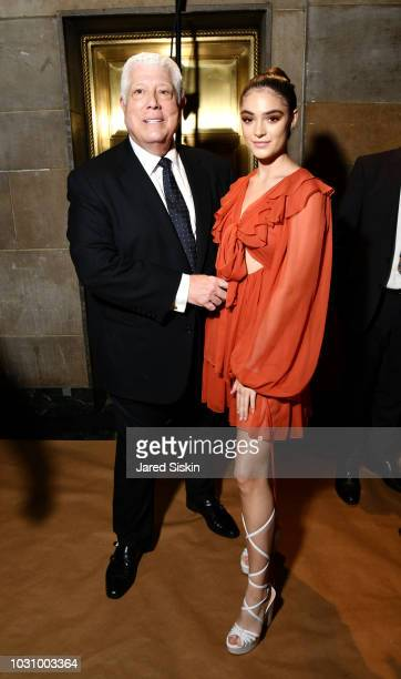 Dennis Basso and Luna Blaise backstage at the Dennis Basso Spring/Summer 2019 Collection Runway Show during New York Fashion Week at Cipriani 42nd...