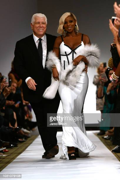 Dennis Basso and Mary J Blige walk the runway finale at the Dennis Basso Spring/Summer 2019 Collection Runway Show during New York Fashion Week at...