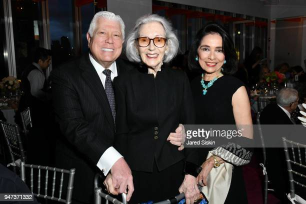 Dennis Basso Barbara Tober and Dr Joyce F Brown attend The Museum of Arts and Design Presents LOOT MAD About Jewelry on April 16 2018 at the Museum...
