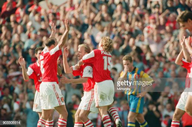Dennis Bergkamp celebrates his second goal for his new club Arsenal This was also his 2nd goal on the day for Arsenal against Southampton Dennis's...