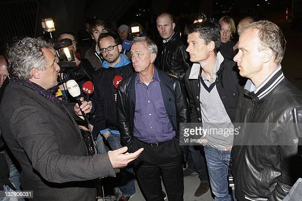 Dennis Bergkamp ,Johan Cruijff ,Wim Jonk on March 30, 2011 at the Amsterdam ArenA. The board of directors of Ajax resigned during a special meeting...