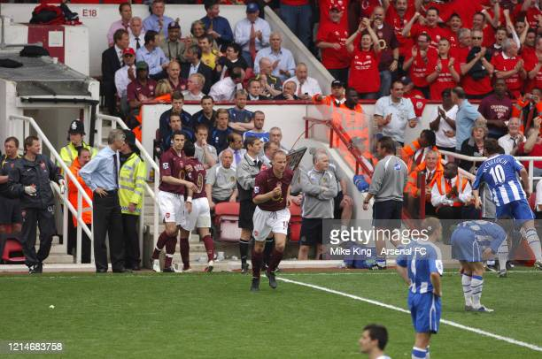 Dennis Bergkamp of Arsenal comes on as a substitute during the Premier League match between Arsenal and Wigan Athletic the last match to be played at...