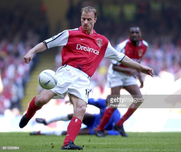 Dennis Bergkamp of Arsenal in action during the AXA sponsored FA Cup Final between Arsenal and Chelsea at the Millennium Stadium in Cardiff Wales on...