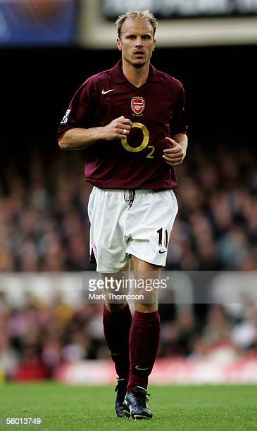Dennis Bergkamp of Arsenal in action during the Barclays Premiership match between Arsenal and Manchester City at Highbury on October 22 2005 in...
