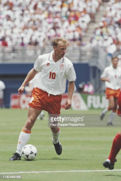 Dennis Bergkamp of Netherlands pictured with the ball during play between Belgium and Netherlands in their 1994 FIFA World Cup Group F match at the...