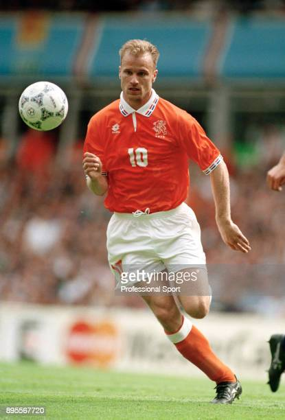 Dennis Bergkamp of the Netherlands in action during the UEFA Euro 96 group match between the Netherlands and Scotland at Villa Park on June 10 1996...