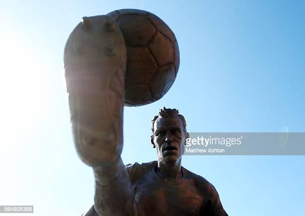 Dennis Bergkamp statue at the Emirates stadium home of Arsenal
