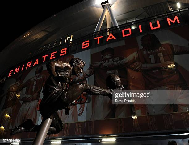 Dennis Bergkamp statue outside the stadium before the Barclays Premier League match between Arsenal and Southampton at Emirates Stadium on February 2...