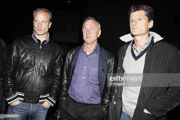 Dennis Bergkamp,Johan Cruijff,Wim Jonk on March 30, 2011 at the Amsterdam ArenA. The board of directors of Ajax resigned during a special meeting of...