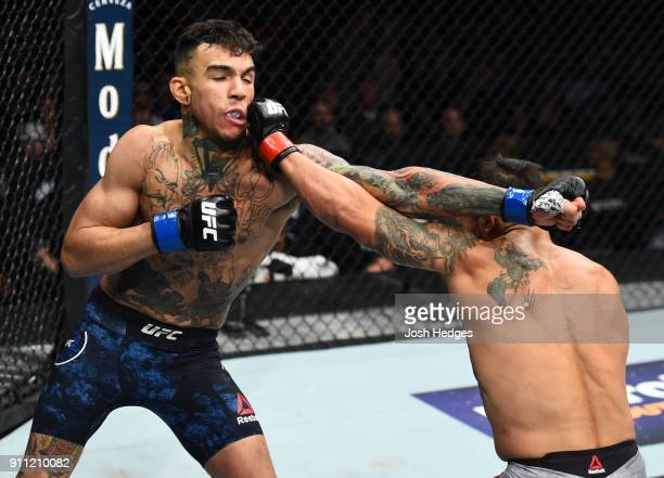 Dennis Bermudez punches Andre Fili in their featherweight bout during a UFC Fight Night event at Spectrum Center on January 27 2018 in Charlotte...