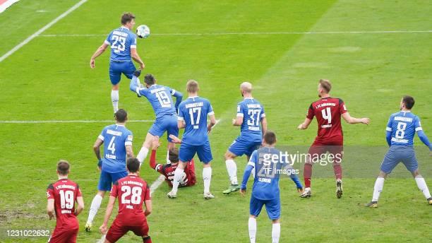 Dennis Borkowski of 1. FC Nuernberg, Victor Palsson of SV Darmstadt 98, Nicolai Rapp of SV Darmstadt 98 Lukas Muehl of 1. FC Nuernberg, Serdar Dursun...