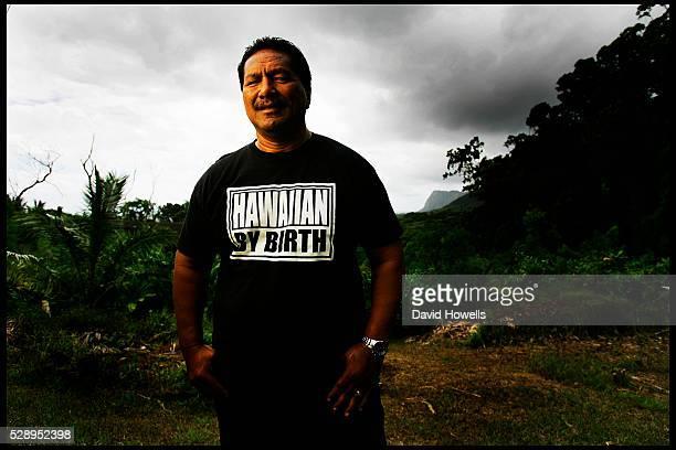 Dennis Bumpy Kanahele a descendent of the Hawaiian royal family and of the head of the Hawaiin Nation in Pu'uhonua o Waimanalo a traditional Hawaiian...