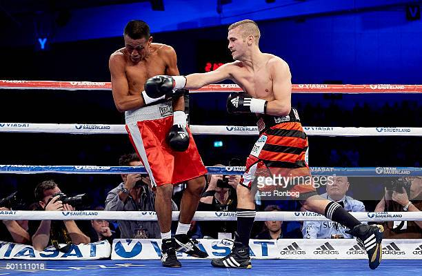 Dennis Ceylan of Denmark fights Walter Estrada of USA in the Featherwieght match during the Sauerland Promotion Boxing Ondt Blod Match at Brondby...