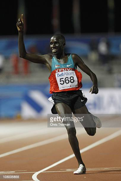 Dennis Chepkongin Masai celebrates victory in the 10000 Metre Final on day two of the 13th IAAF World Junior Athletics Championships at the Stade...