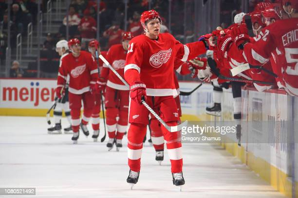 Dennis Cholowski of the Detroit Red Wings celebrates his first period goal with teammates while playing the Los Angeles Kings at Little Caesars Arena...