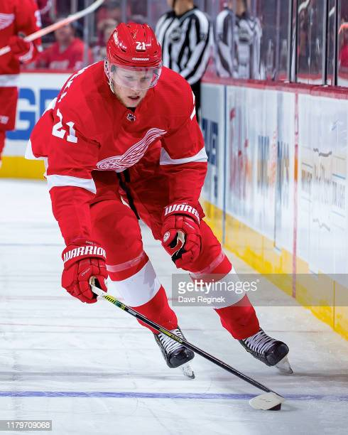 Dennis Cholowski of the Detroit Red Wings controls the puck against the Dallas Stars during an NHL, home opening night game at Little Caesars Arena...