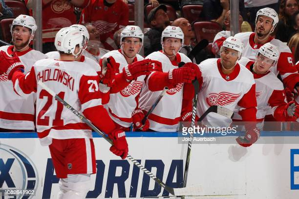 Dennis Cholowski of the Detroit Red Wings is congratulated by teammates after scoring a goal against the Florida Panthers at the BB&T Center on...