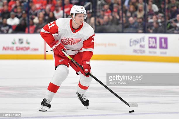 Dennis Cholowski of the Detroit Red Wings skates against the Columbus Blue Jackets on November 21, 2019 at Nationwide Arena in Columbus, Ohio.