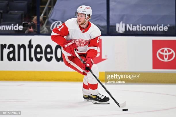 Dennis Cholowski of the Detroit Red Wings skates against the Columbus Blue Jackets at Nationwide Arena on April 27, 2021 in Columbus, Ohio.